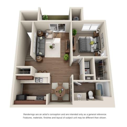 1 Bedroom, 1 Bath Floor Plan at Willow Run Village Apartments