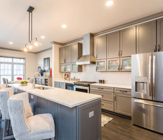 Breakfast bar seating at Waters Edge Apartments in Webster, New York