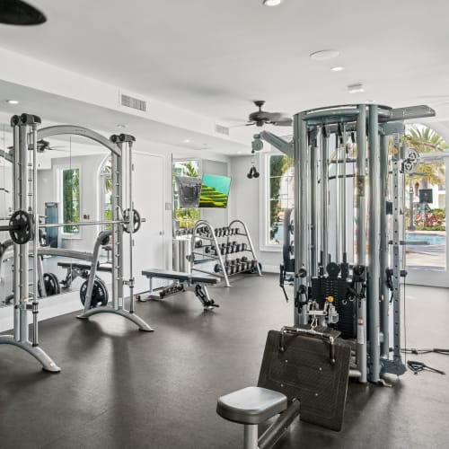 Well-equipped onsite fitness center at Town Lantana in Lantana, Florida