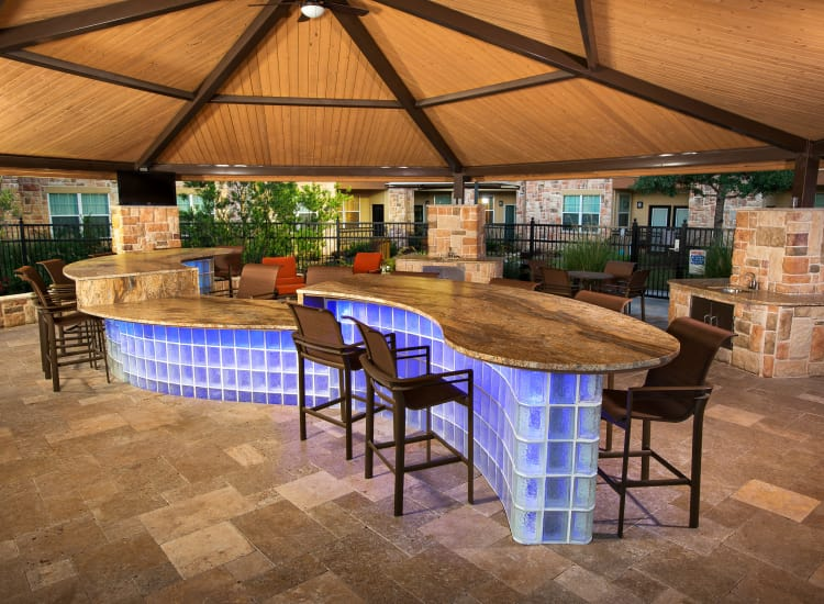 Exterior lounge at Villas in Westover Hills in San Antonio, Texas