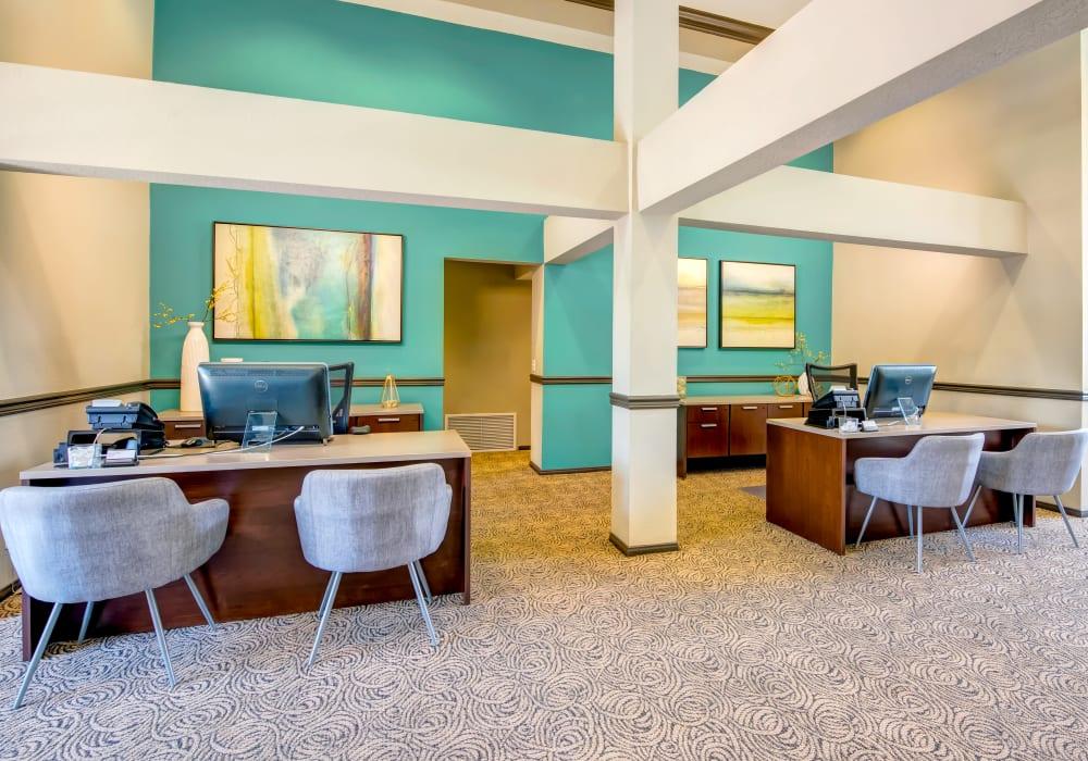 Interior view of the leasing center at Sofi Laguna Hills in Laguna Hills, California