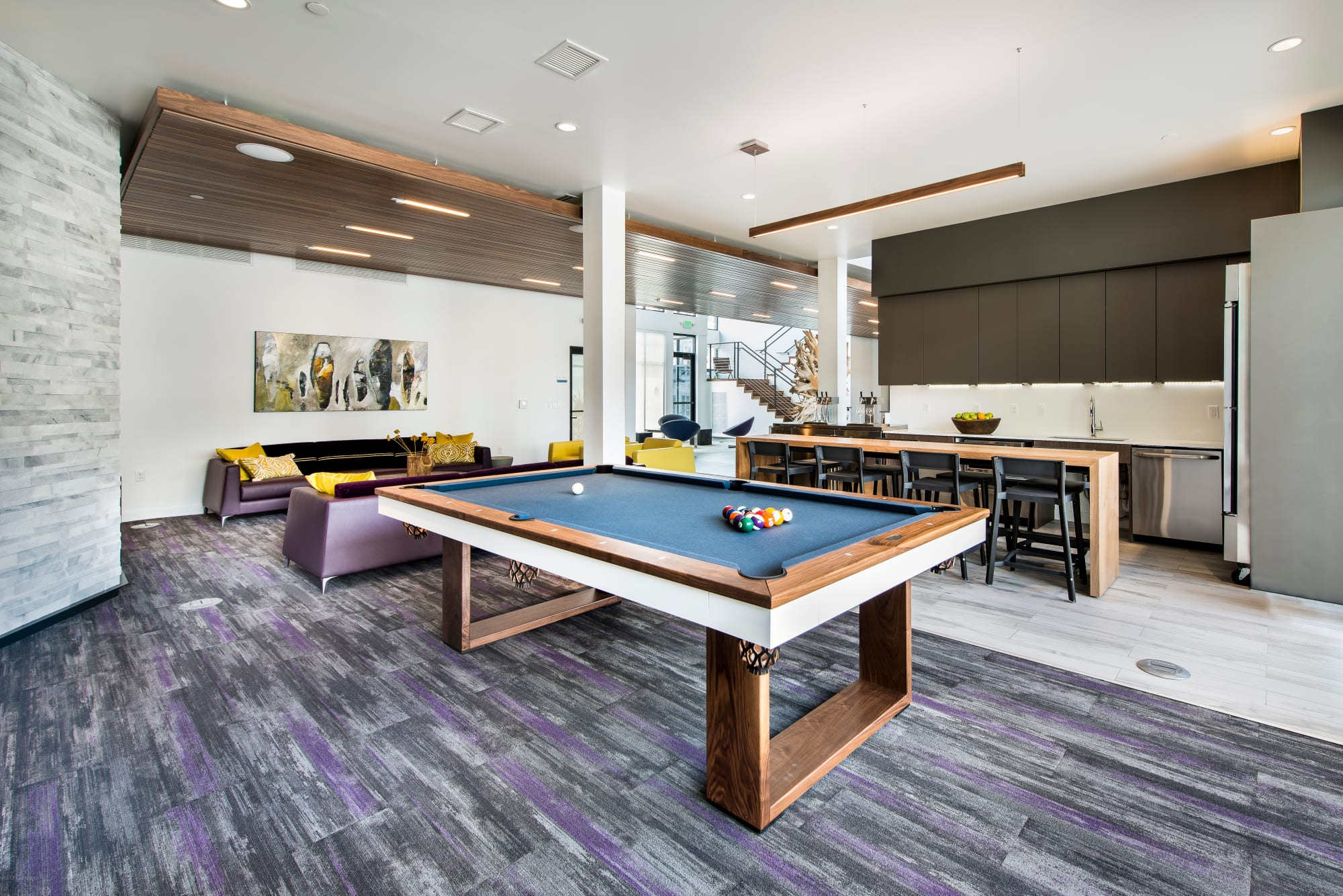 Billiards table in the resident lounge at Elevate in Englewood, Colorado