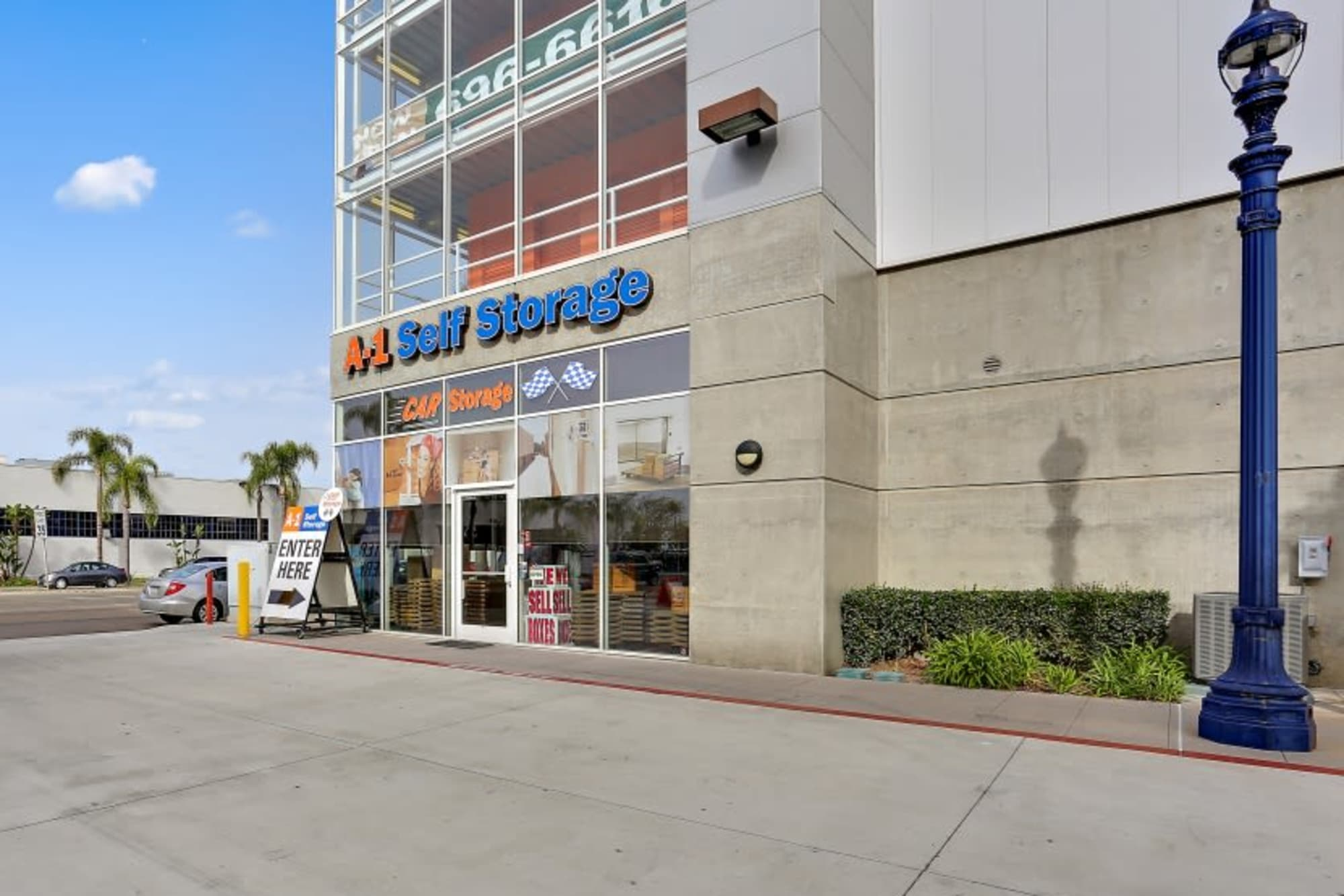A wide driveway at the front of A-1 Self Storage in San Diego, California