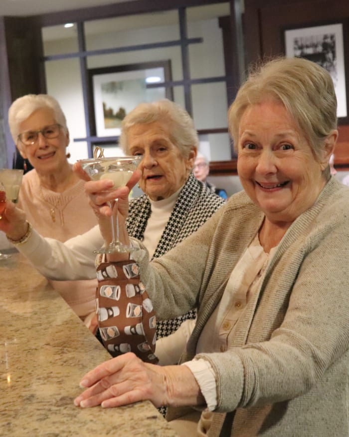 Residents enjoying drinks at Fancho's at The Springs at Carman Oaks in Lake Oswego, Oregon