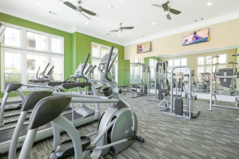 Very equipped fitness center at Belle Vista Apartment Homes in Lithonia, Georgia