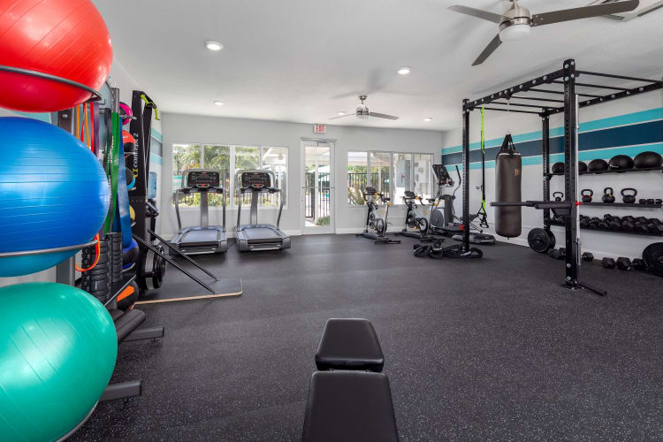 Well equipped fitness center at Verse at Royal Palm Beach in Royal Palm Beach, Florida