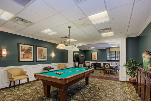 Billiards room at Barkley Place in Fort Myers, Florida.