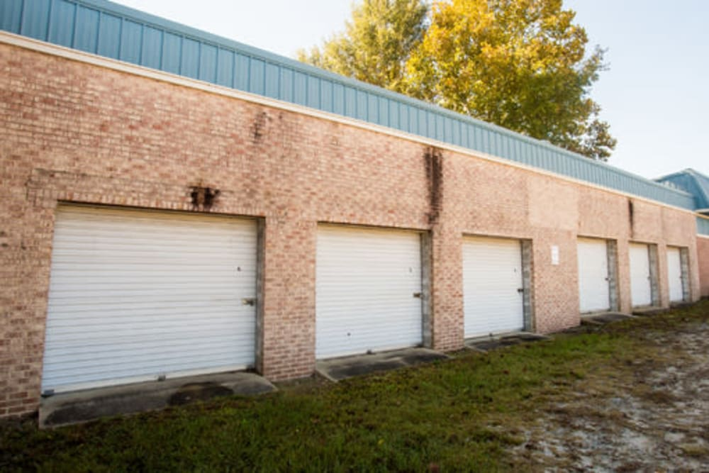 Roll-up doors on self storage units at StayLock Storage in Camden, South Carolina