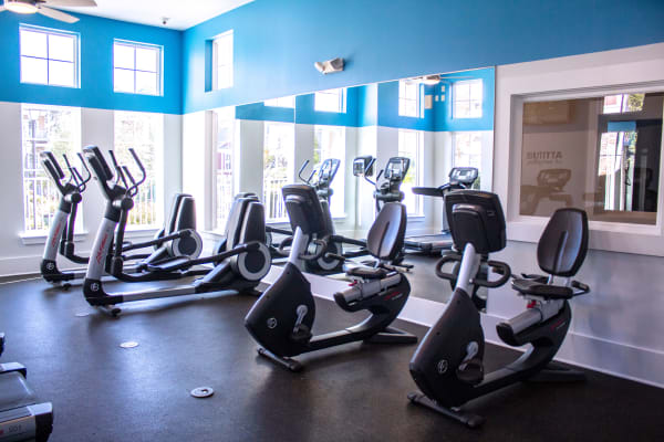 Fitness center with ceiling fans at Berkshire Fort Mill in Fort Mill, South Carolina