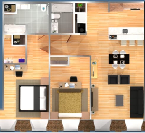 Floor plan image of 2 Bedroom with 2 Bath  950 – 2247 Sq. Ft.  Loft option available  Starting at $1218*