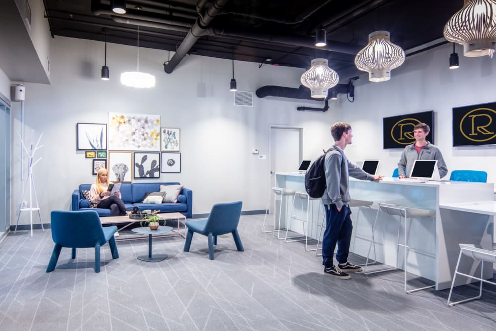 Community clubhouse at RISE at Riverfront Crossings in Iowa City, Iowa
