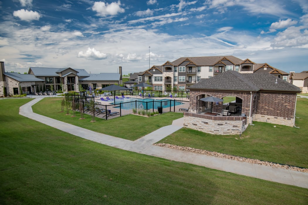 Overview of property pool and cabana area at Cedar Ridge in Tulsa, Oklahoma