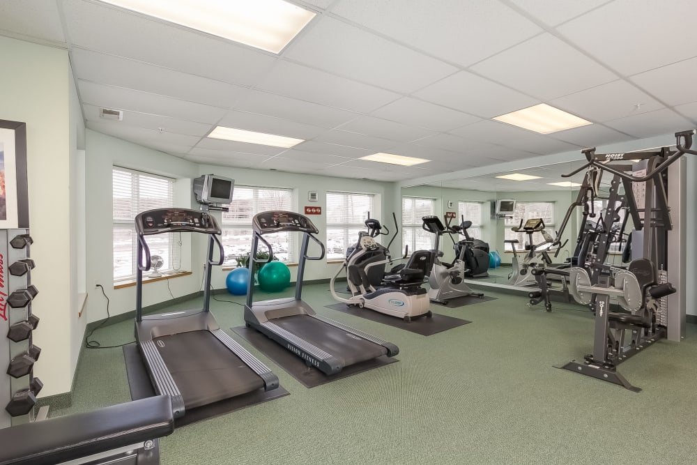 Fitness center for residents at Applewood Pointe of Roseville in Roseville, Minnesota.