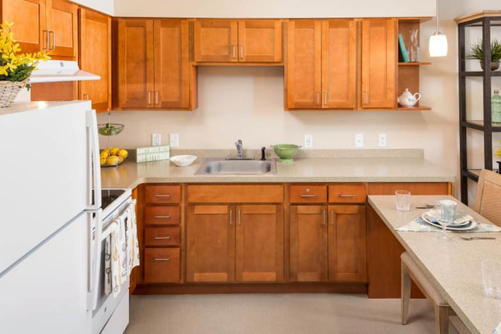 A kitchen at Merrill Gardens at Madison in Madison, Alabama.