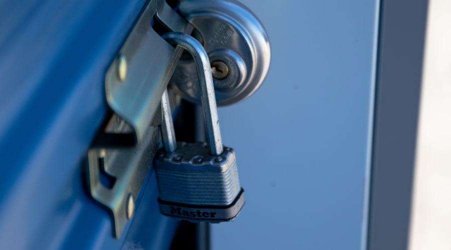 Two locks on a storage unit door at KO Storage of Wisconsin Dells Hwy 16 in Wisconsin Dells, Wisconsin