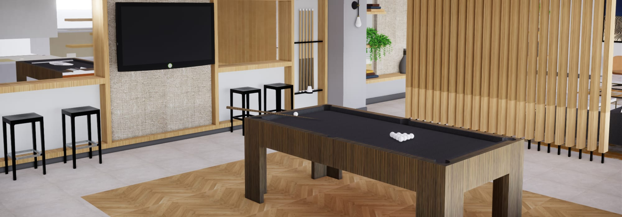 Rendering of pool table for residents to play on at The Piedmont in Tempe, Arizona