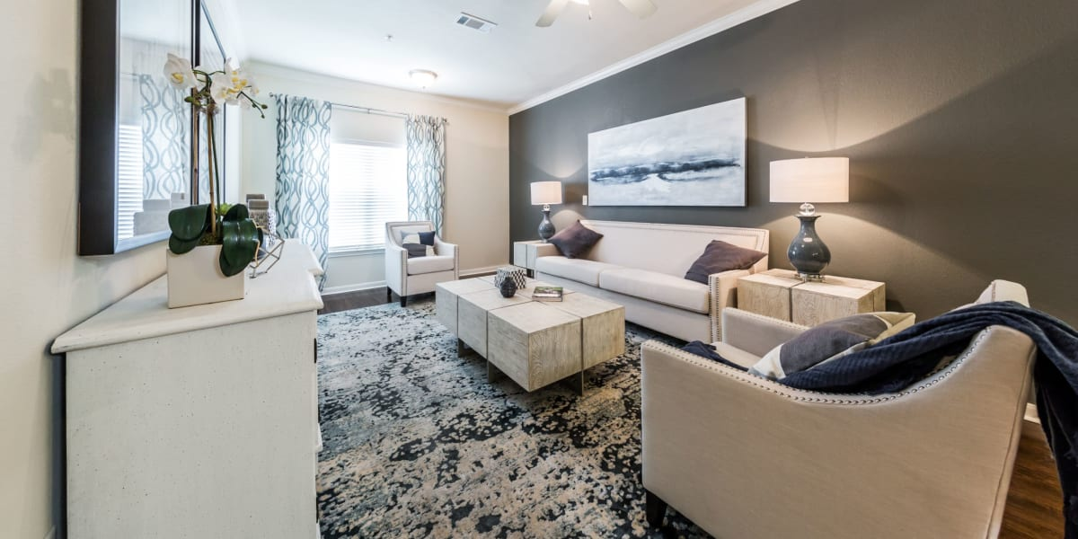 Living room at Marquis at The RIM in San Antonio, Texas