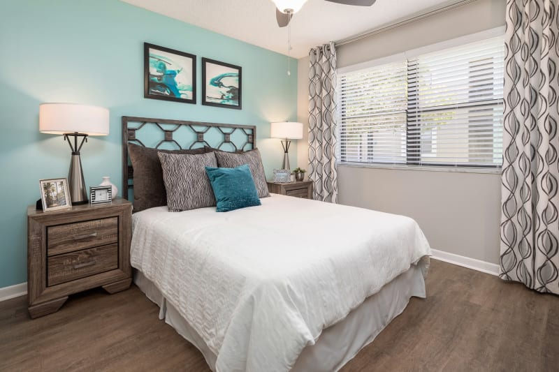 Well lit bedroom at The EnV in Hollywood, Florida