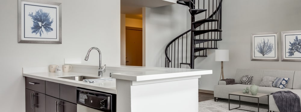 Beautiful countertops and a spiral staircase at Elan 41 Apartments in Seattle, Washington