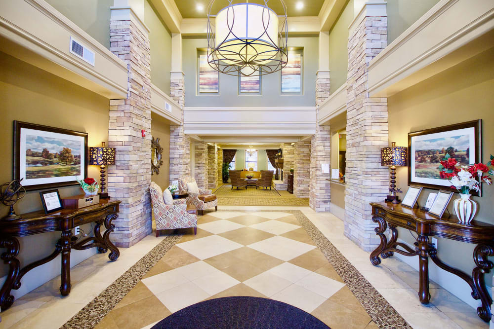 The lobby at Isle at Watercrest Bryan in Bryan, Texas