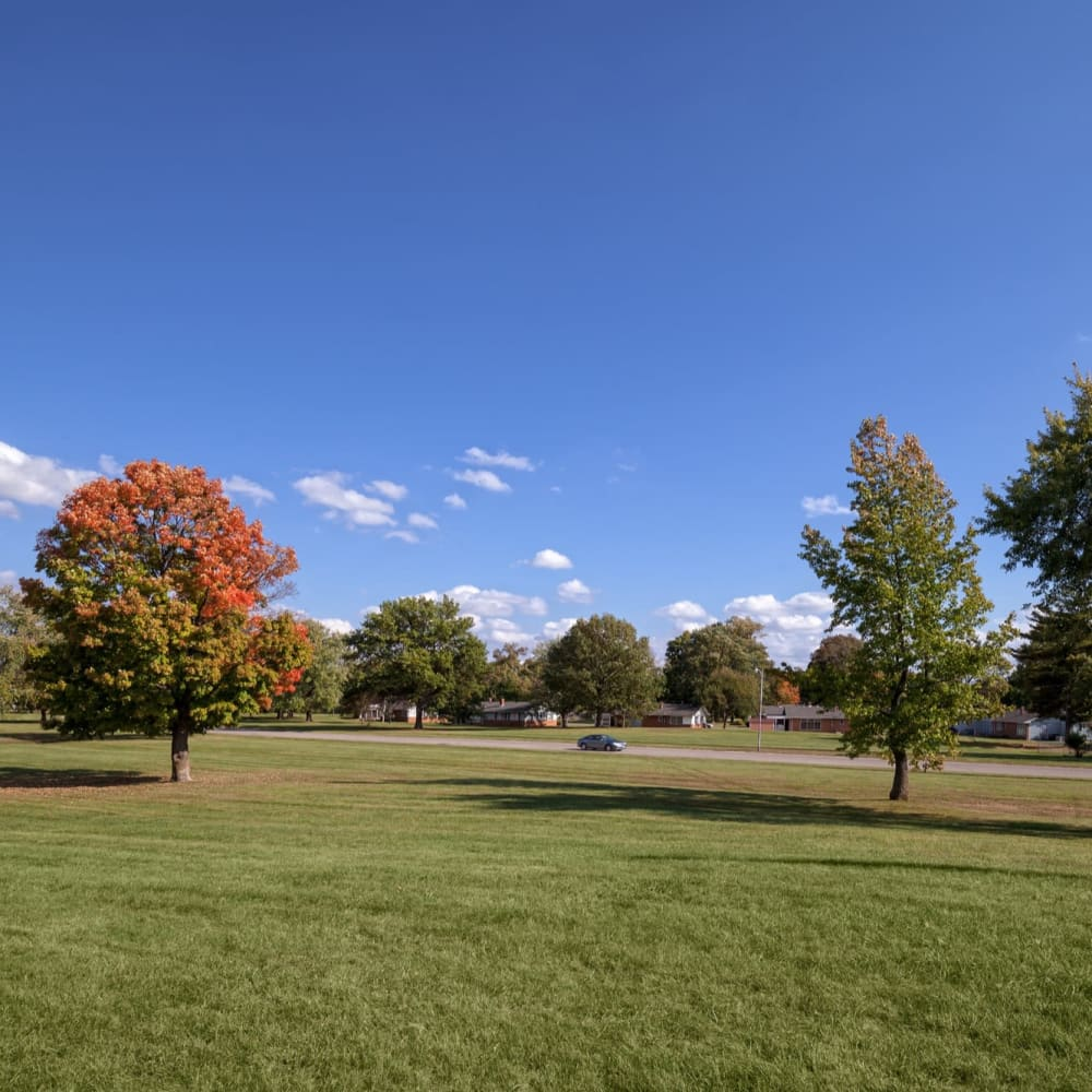 Tons of green space at Steeplechase Village in Columbus, Ohio