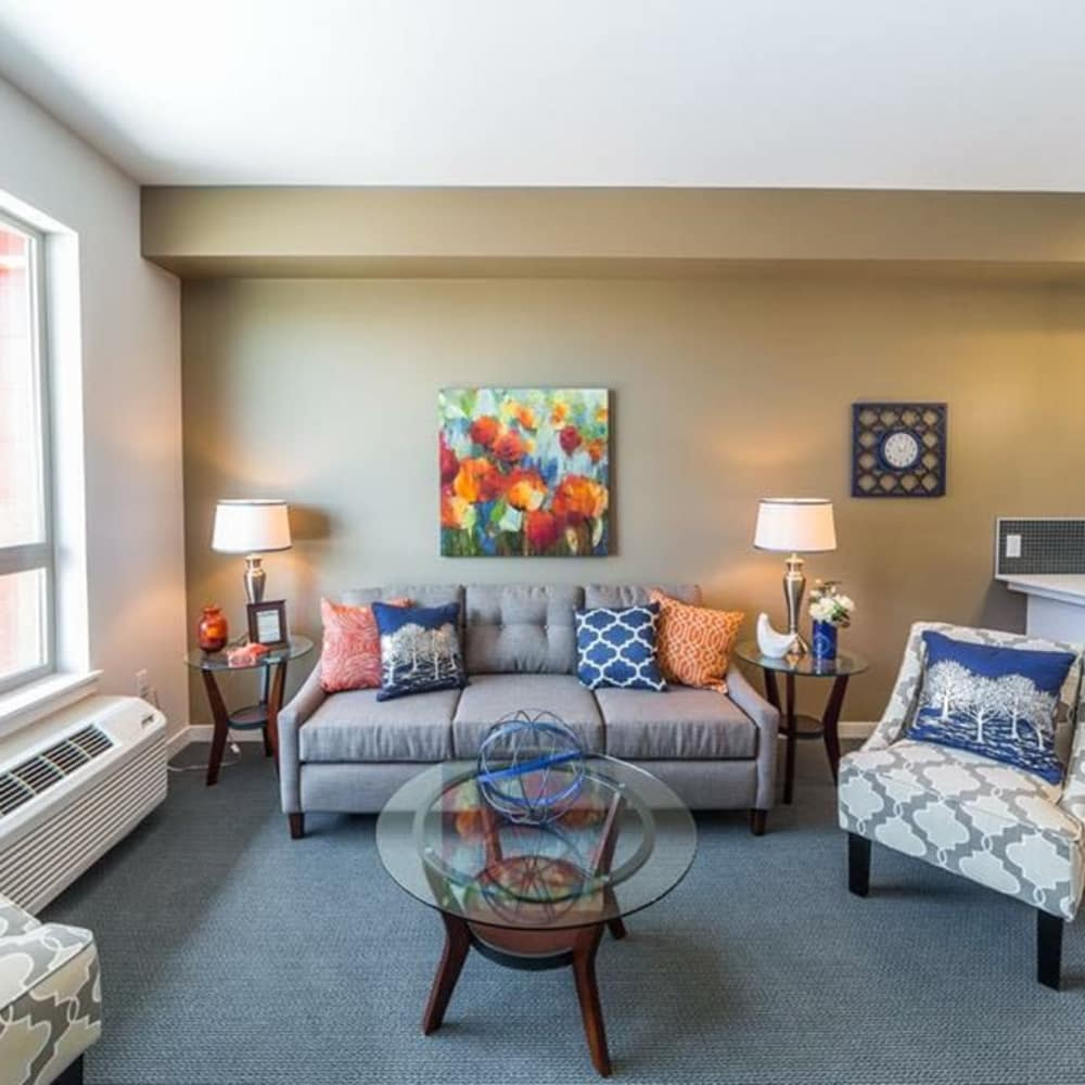 Unique living room at South Block Apartments in Salem, Oregon