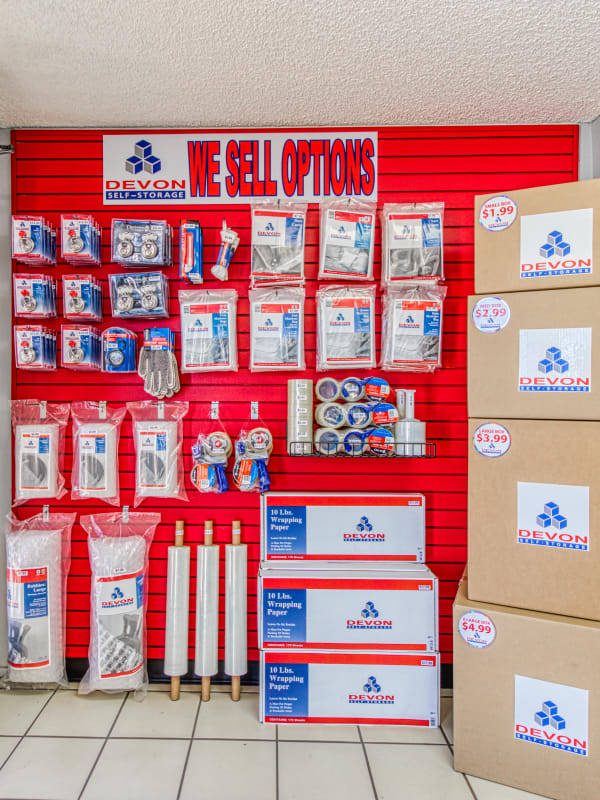 A variety of packing and moving supplies at Devon Self Storage in Palm Springs, California