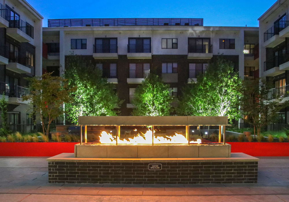 Outdoor fire pit at Axis 3700 in Plano, Texas