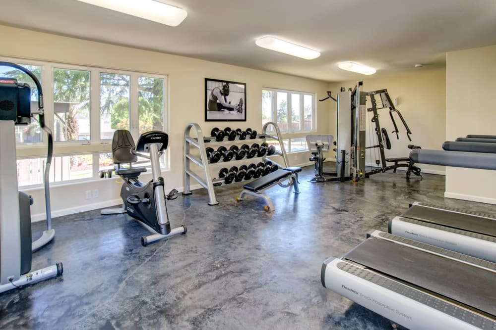 Well-equipped onsite fitness center at Pleasanton Heights in Pleasanton, California