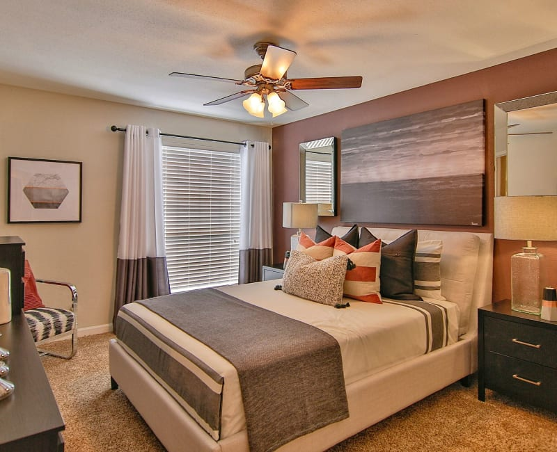 Well-decorated bedroom in model home at Allegro on Bell in Antioch, Tennessee
