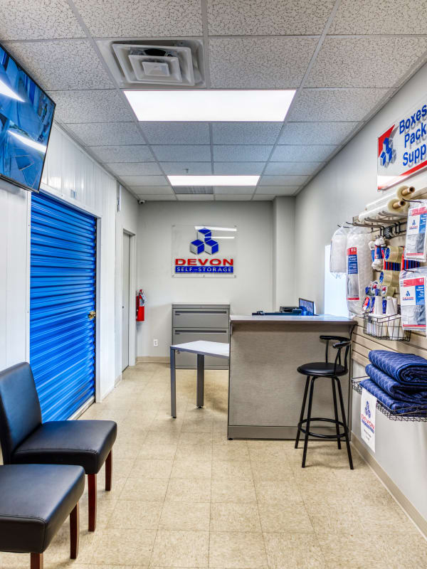 Inside the leasing office at Devon Self Storage in Davenport, Iowa