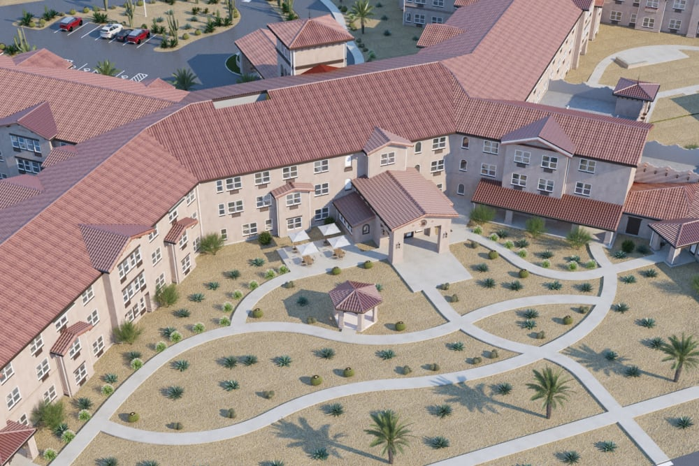 Exterior rendering of building showing front entrance at Ativo Senior Living of Sundance in Buckeye, Arizona