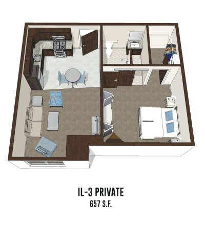 Independent living private room 3 is 657 square feet at New Albany in New Albany, Ohio.