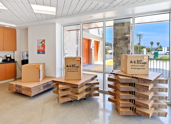 A variety of box sizes available at A-1 Self Storage in National City, California