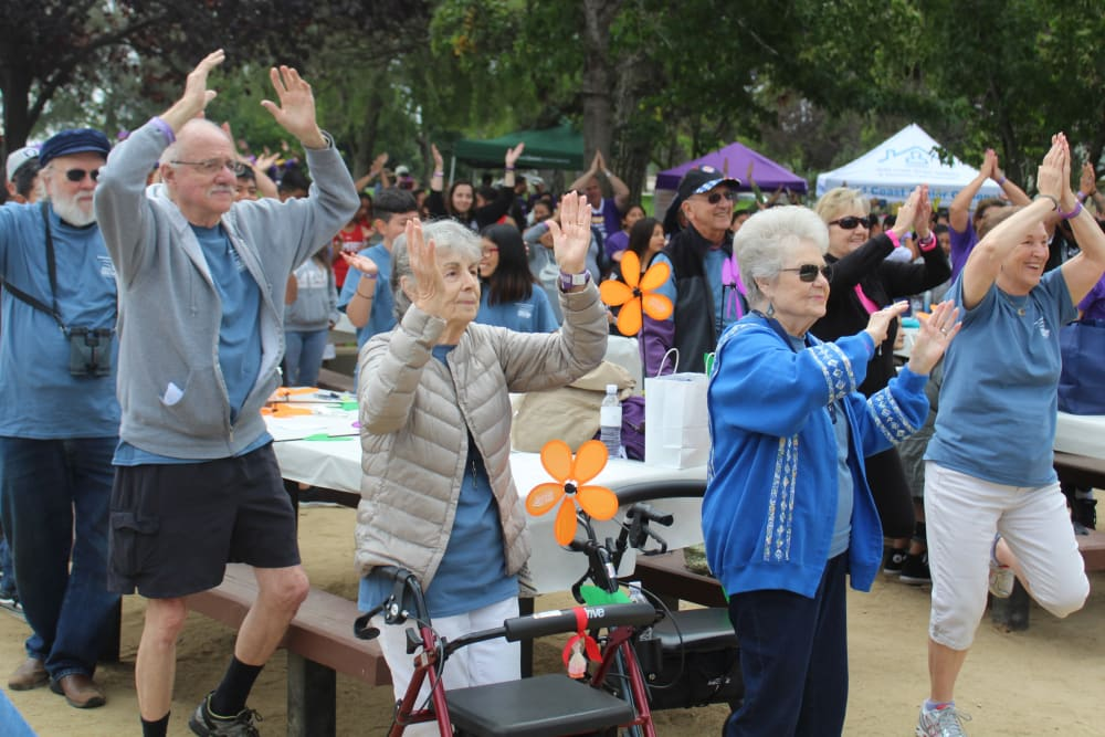 Residents exercising at Merrill Gardens at Santa Maria in Santa Maria, California.