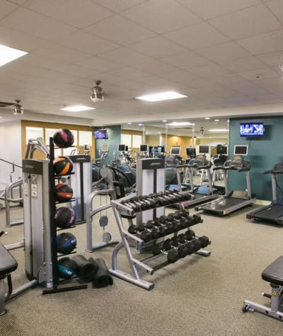 Fitness center at The Drake Apartments in Mayfield Heights
