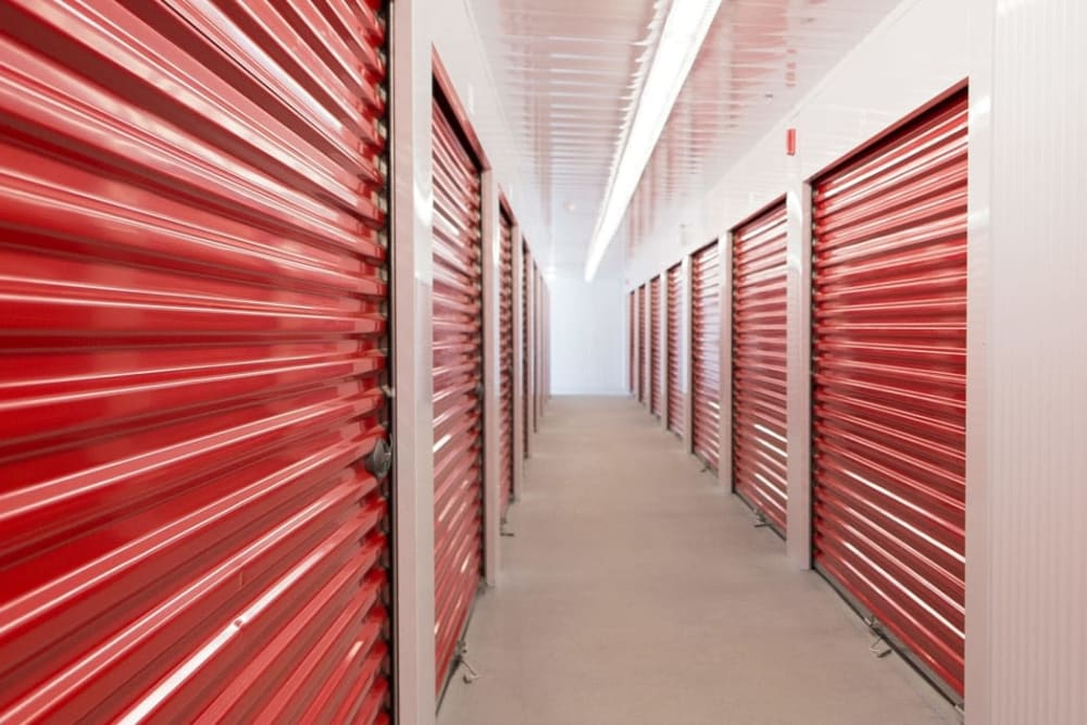 Long hallway of storage units at Mini Storage Depot in Knoxville, Tennessee