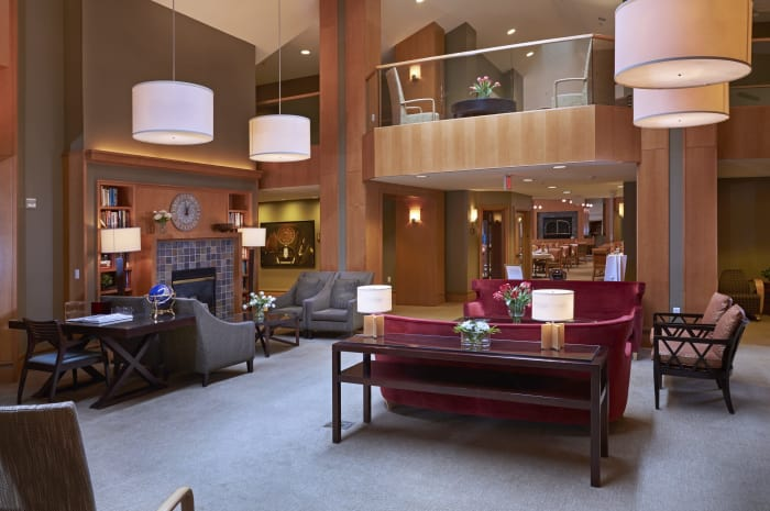 Spacious main lobby at All Seasons of Rochester Hills in Rochester Hills, Michigan