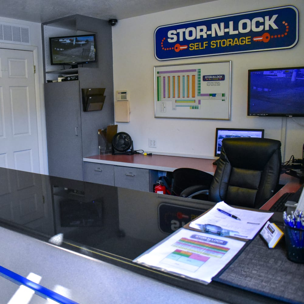 Inside the welcoming office at STOR-N-LOCK Self Storage in Cottonwood Heights, Utah