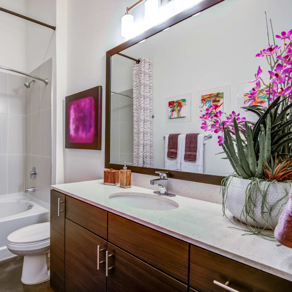 Master bathroom with purple accents at Mercury NoDa in Charlotte, North Carolina