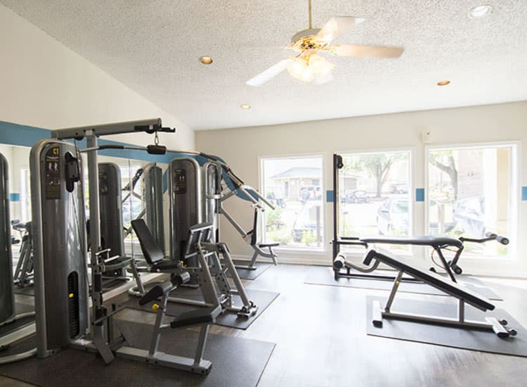 Resident fitness center at Stonecrossing of Westchase in Houston, Texas.