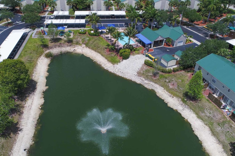 Aerial view of pond at The Coast of Naples Florida