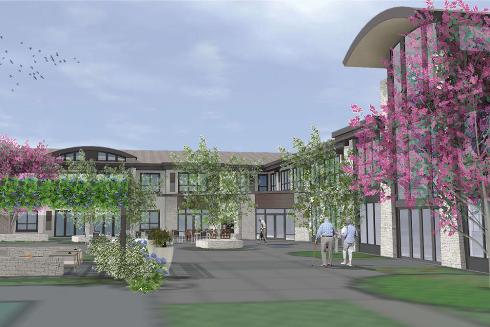Rendering of the courtyard at Merrill Gardens at Brentwood in Brentwood, California