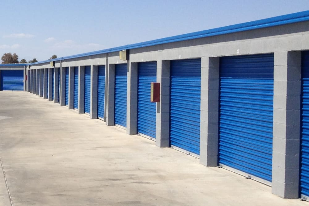 Outdoor storage units at A-American Self Storage in Ridgecrest, California