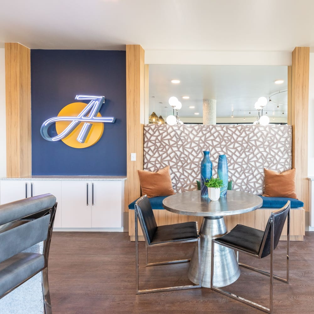 Resident lounge area at The Alcott in Denver, Colorado