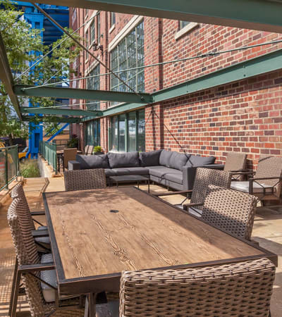 Outdoor resident lounge at The Archer in Cleveland, Ohio