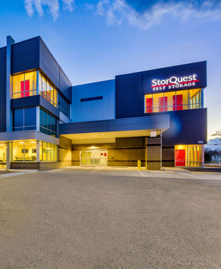 Exterior of StorQuest Self Storage in Denver, Colorado at dusk
