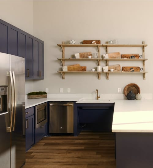 Kitchen with tons of counter space and spacious layout at Seville Uptown in Dallas, Texas