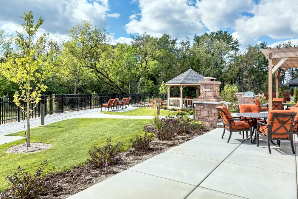 The Resident patio with a gazebo at Aspired Living of Prospect Heights in Prospect Heights, Illinois.