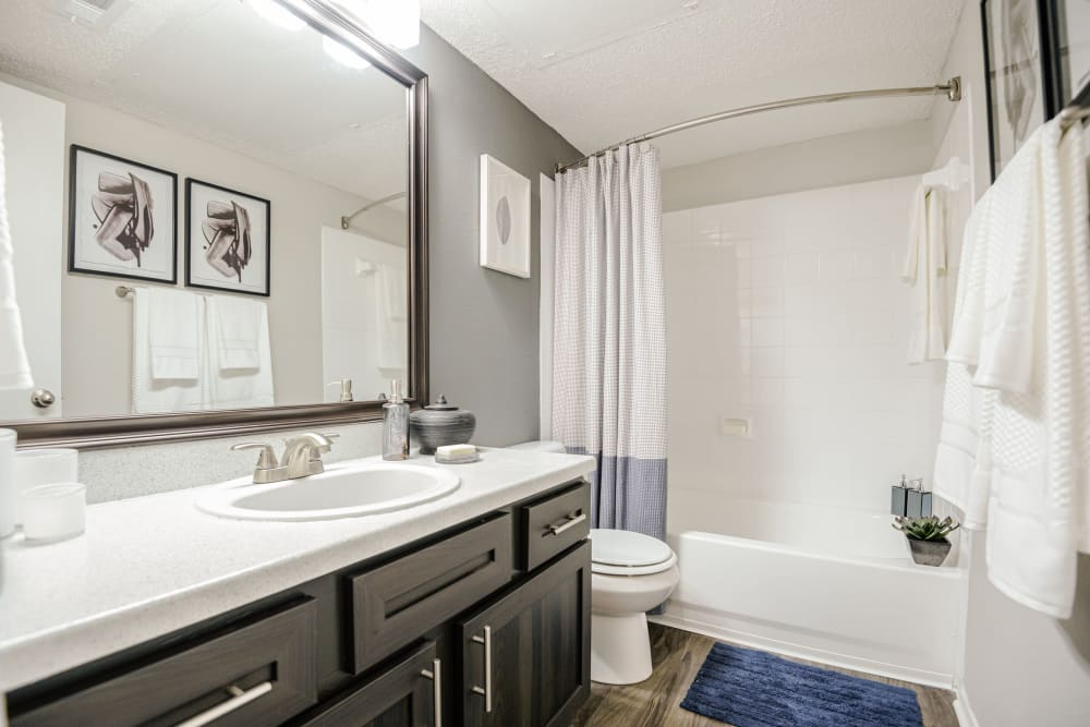 Model bathroom with large vanity mirror and oval tub at The Regent in Dallas, Texas